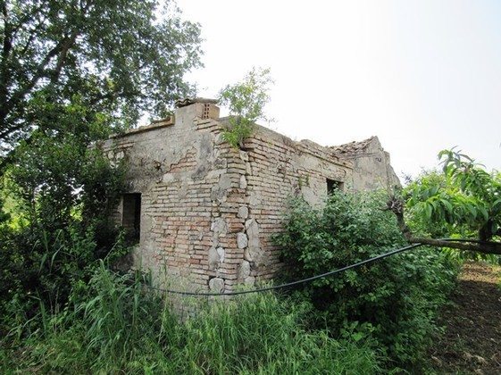 Ruin of 80sqm with 1200sqm of peach orchard, flat land 1 km to the town, for villa of up to 300sqm.